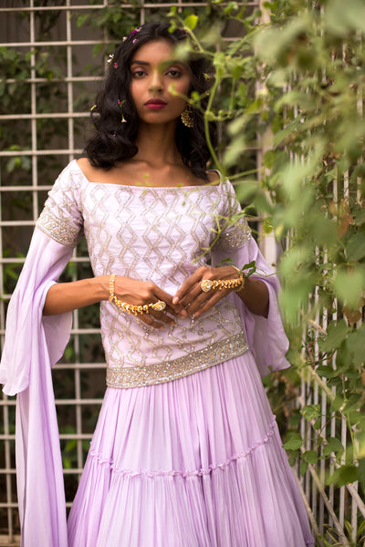 Lilac  Embroidered Top & Skirt set
