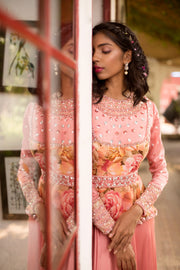 Mud Pink Peplum Anarkali set