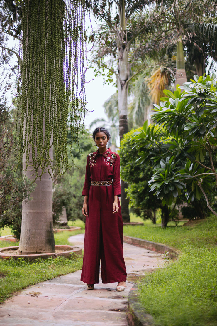Maroon 3D Sequins Embellished Jumpsuit with Belt