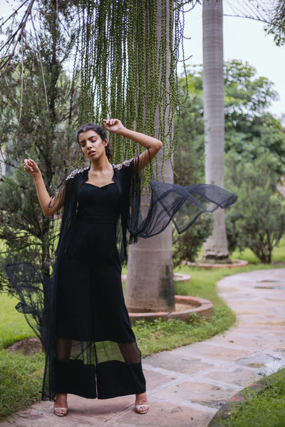 Black Jumpsuit & Embroidered cape set