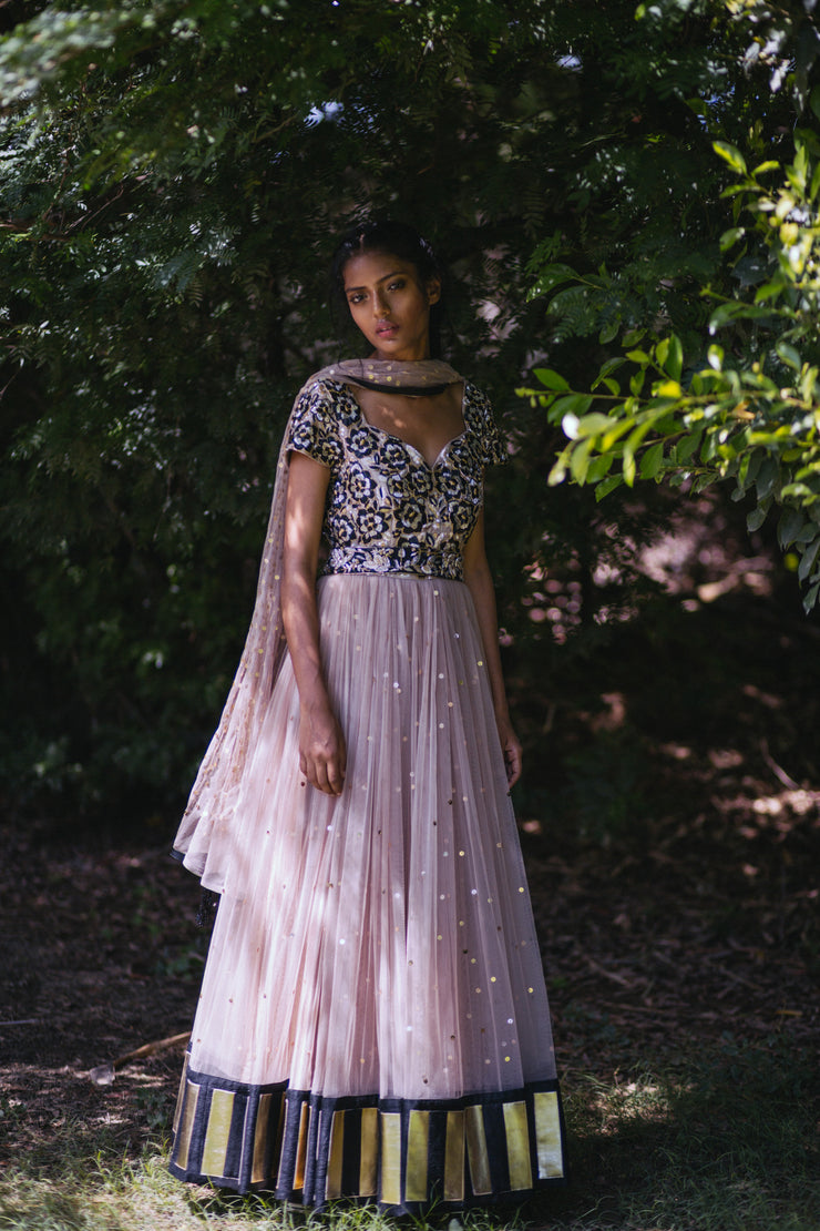 Rosegold Anarkali with Belt