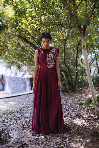 Maroon Jumpsuit With Embroidered Suede Drape