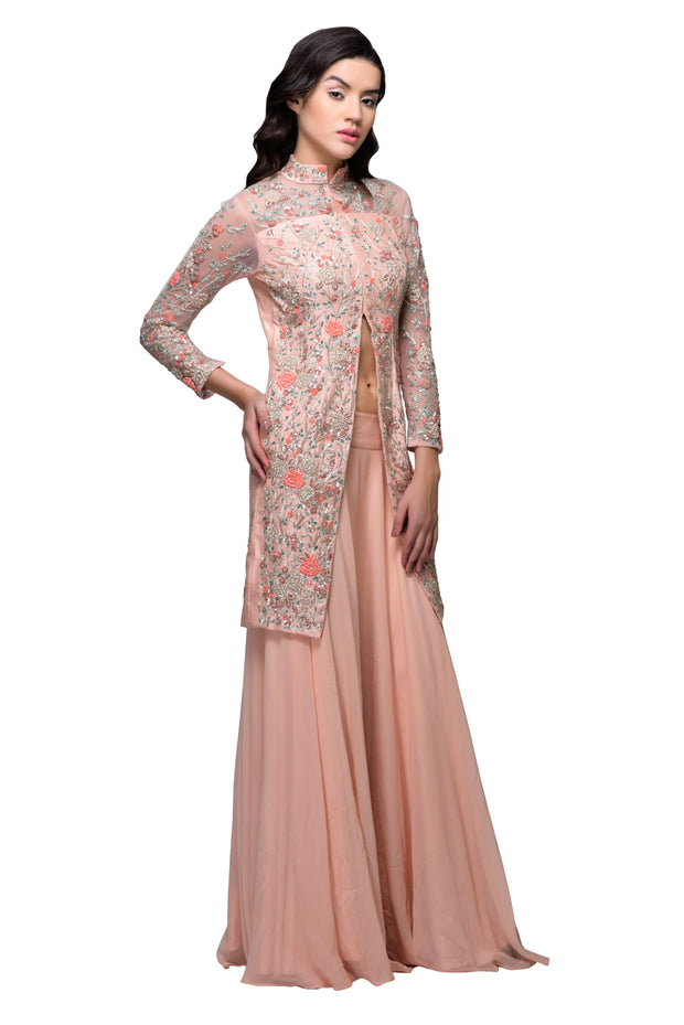 Peach Cutdana Embroidered Jacket with Skirt