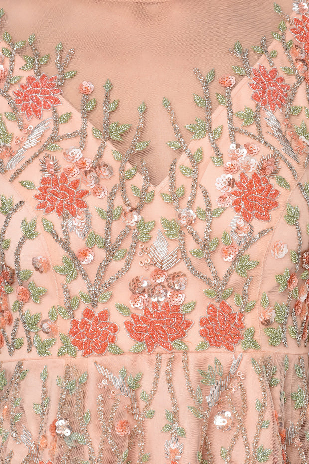 Peach Embroidered blouse & Sharara Set