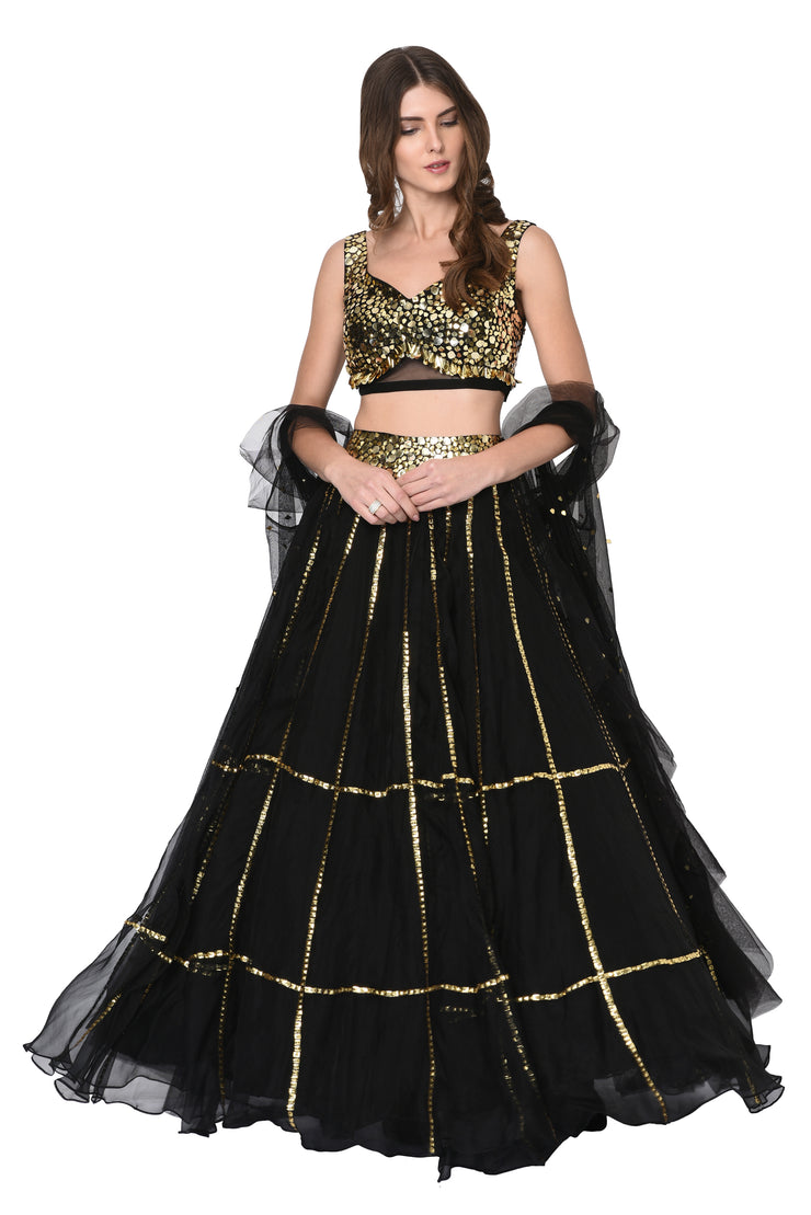 Black Organza Lehenga Set with Ruffle Cape