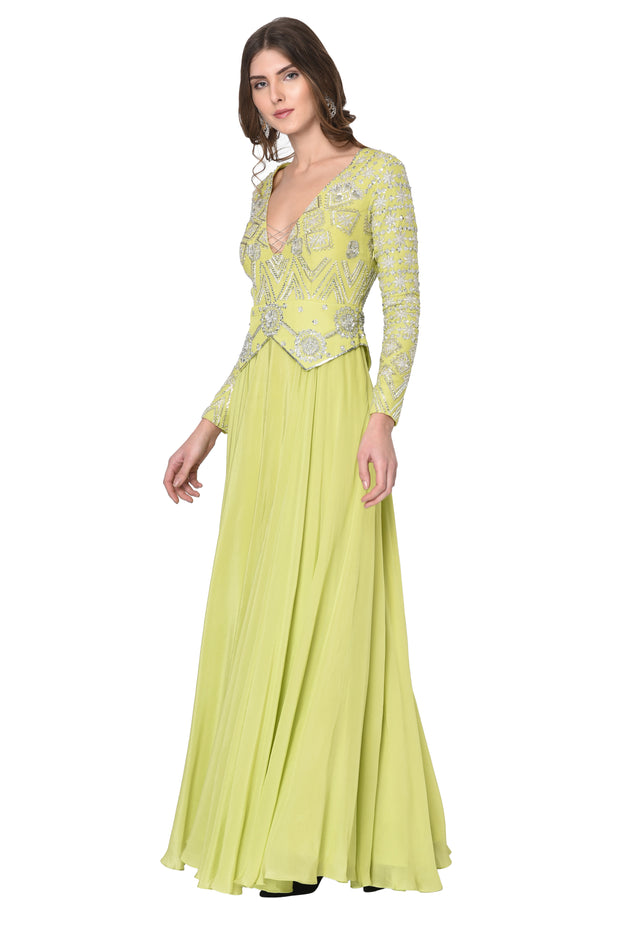 Lime Green Peplum Anarkali