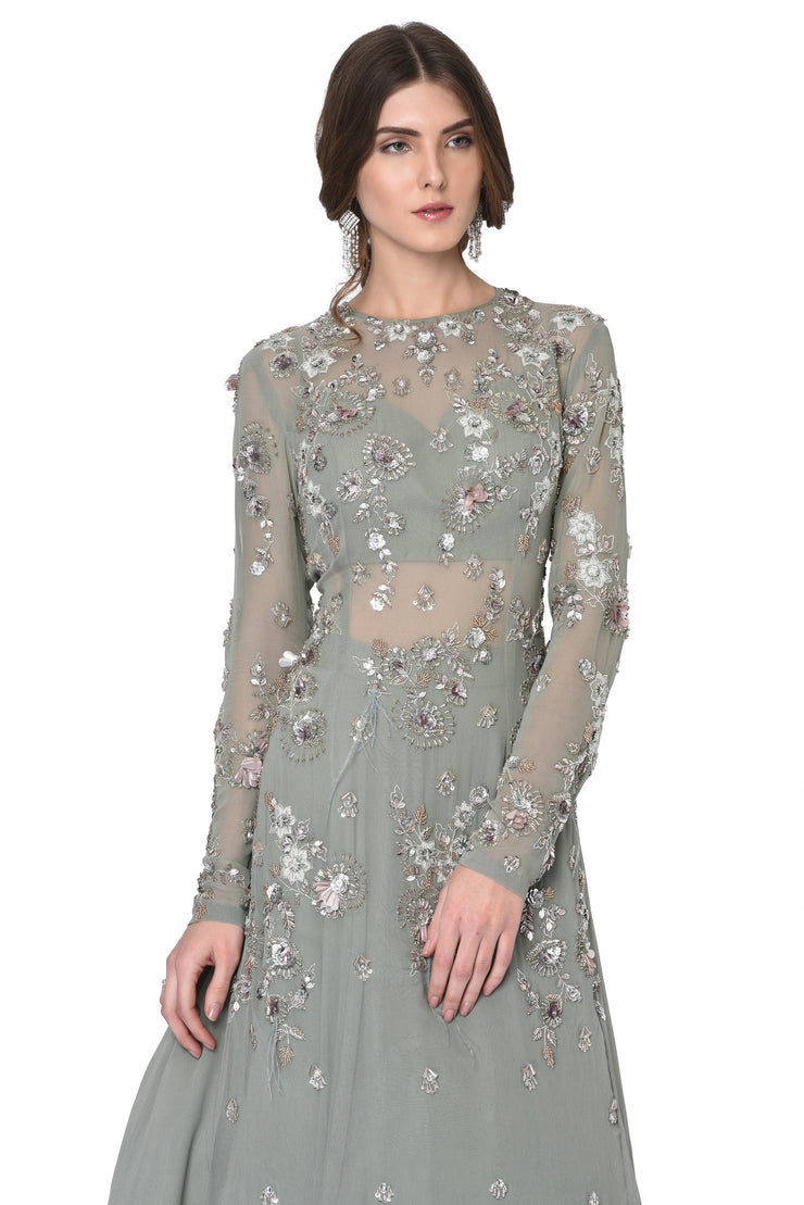 Grey Long Feathers Kurti with Heavy Skirt and Dupatta