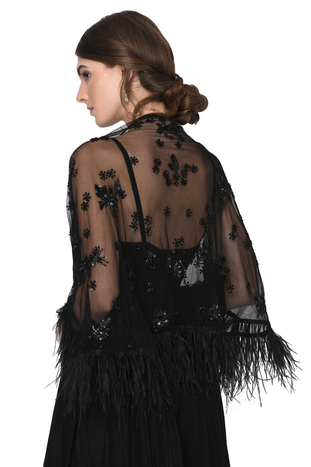 Black Jumpsuit with Feather cape