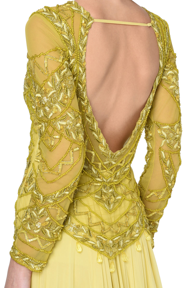 Olive & Yellow Sequin Embroidered Anarkali