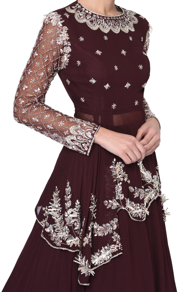 Deep Wine Peplum Blouse with Heavy Skirt
