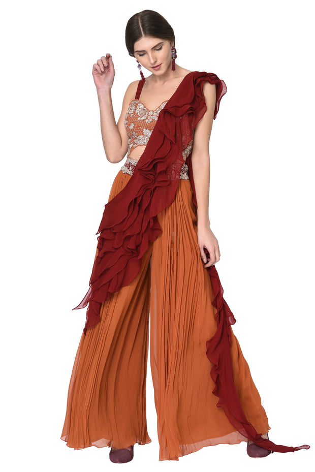 Rust Top & Plazzo Pant with Maroon Ruffle Drape
