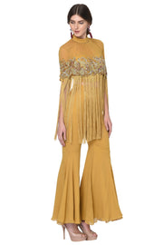 Mustard Yellow Fringe Top & Palazzo Set