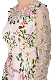 Powder Pink printed Peplum Top with Skirt