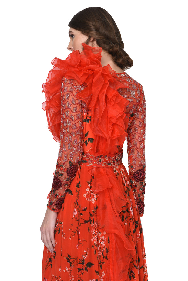 Red Floral Printed Jumpsuit with Organza Ruffle Drape