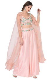 Peach Pink Top, Palazzo & Ruffle Organza Cape Set