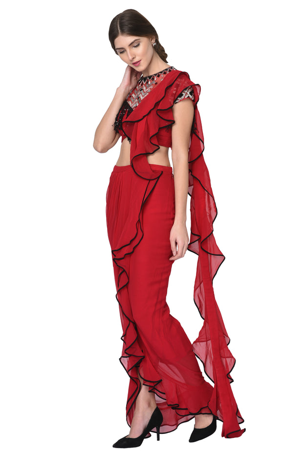 Cherry Red Ruffle Saree