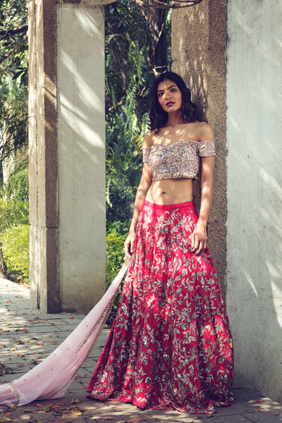 Pink and Red Embroidered Lehenga Set