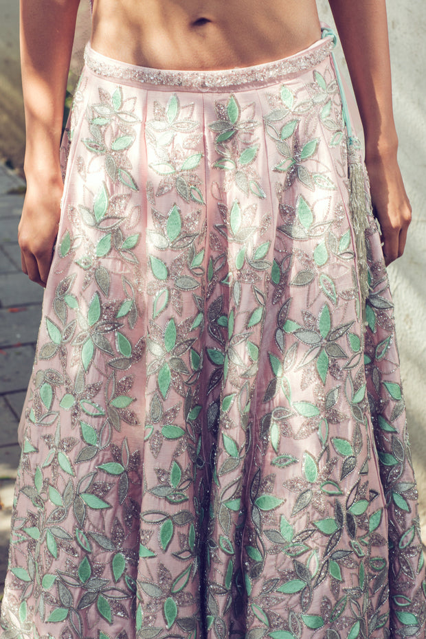 Pink and Green Embroidered Lehenga Set