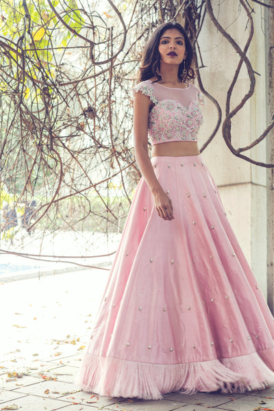 Pink Lehenga Set With Fringes