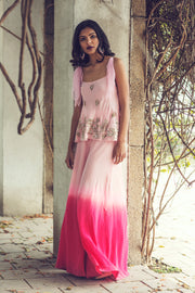 Powder Pink & Fuschia Ombre Plazzo with Embroidered Top