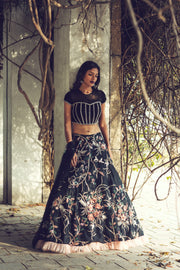 Black Resham & Cutdana Embroidered Lehenga Set