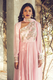 Pink Rouched Anarkali With Drape