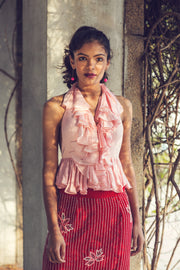 Pink Ruffle Blouse With Red Velvet Skirt