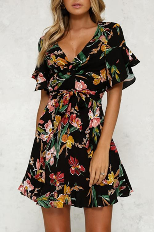 5c474106b582 Hegaldress Trendy Floral Printed Black Mini Dress