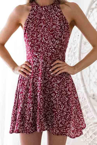 d834ca338504c9 Hegaldress Sexy Printed Hollow-out Wine Red Mini Dress.  23.68. Hegaldress  Annie Round Neck ...