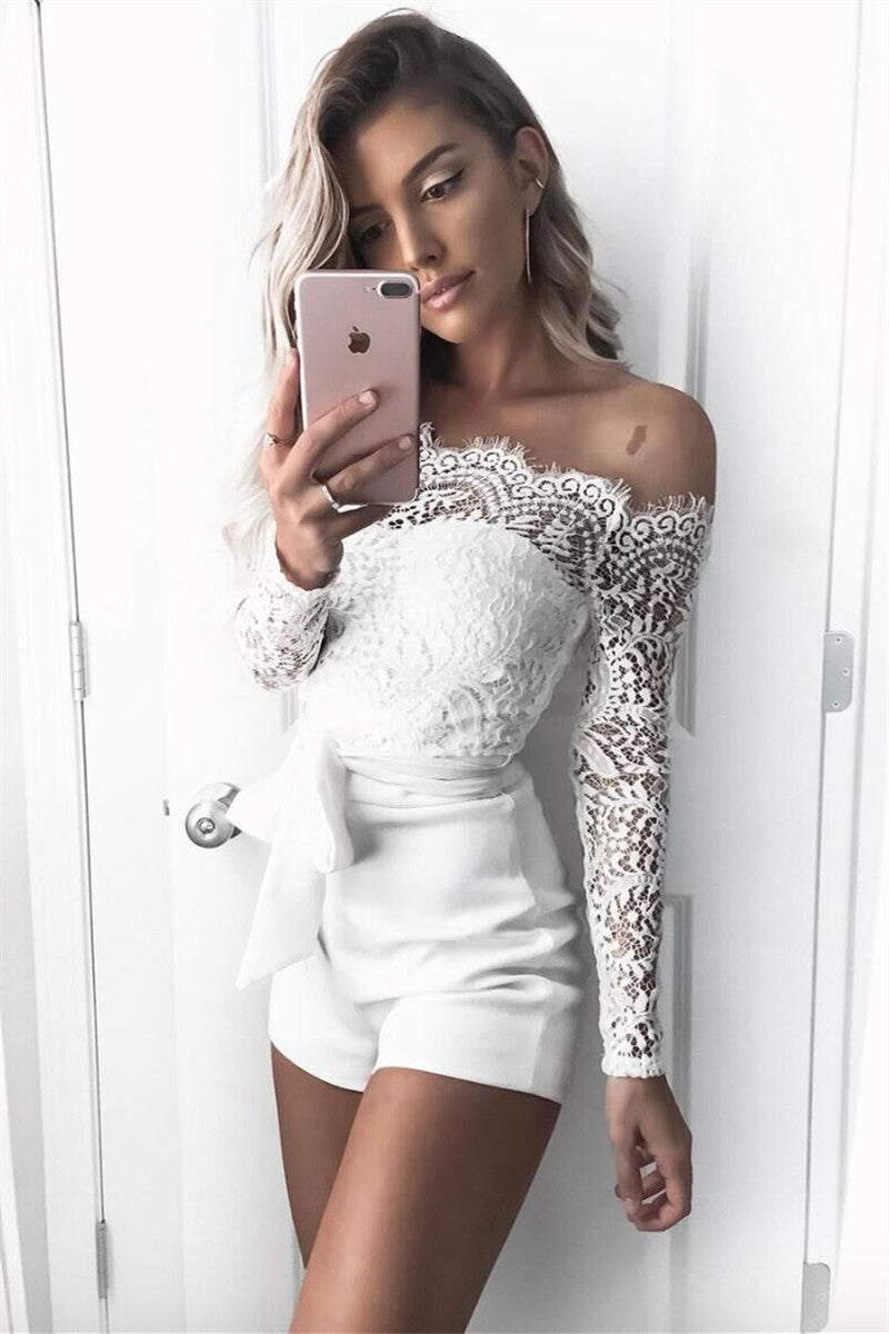 9fd4c215ed5 Hegaldress Off Shoulder White Lace Rompers