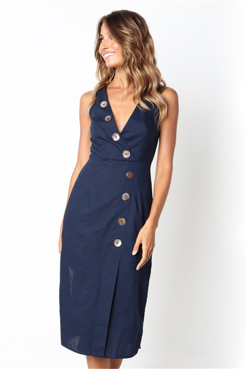 Hegaldress Casual Buttons V Neck Sleeveless Midi Dress