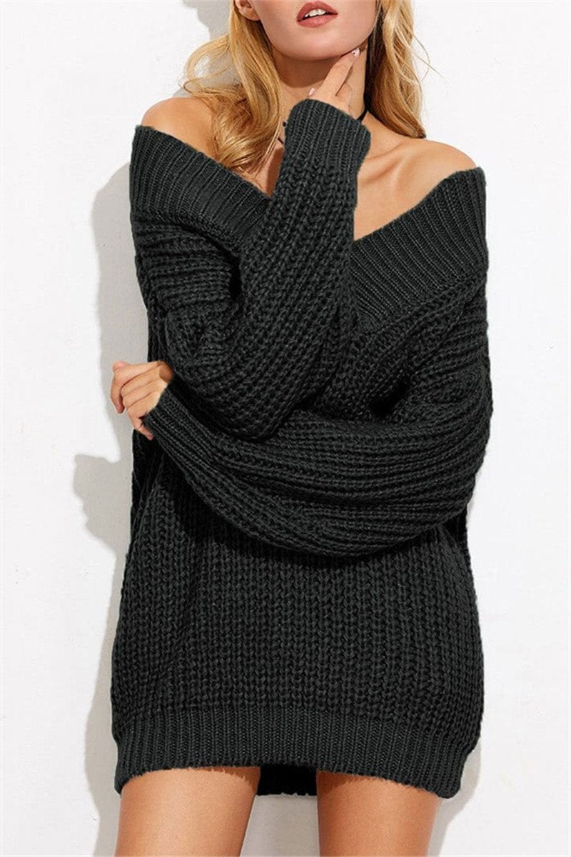 49ce10d99afea Hegaldress V-Neck Sweater With Shoulder Left Chunky Knit