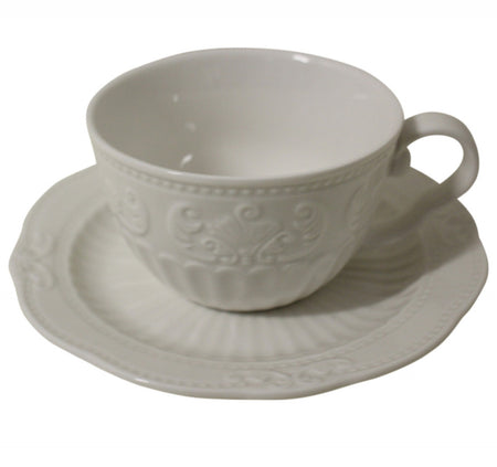 French White Tea Cup & Saucer