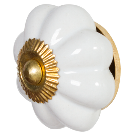 White/ Gold Pumpkin Door Knob