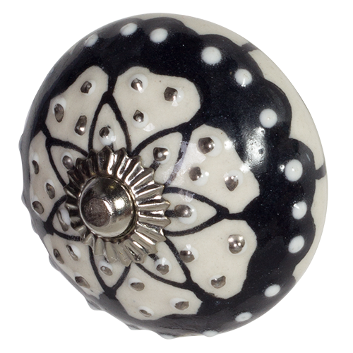 Black & White Round Door Knob