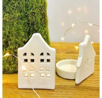 White Ceramic House Tealight - 4x4 Windows