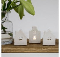 White Ceramic House Tealight - star