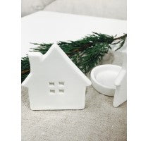 White Ceramic House Tealight - Square Windows