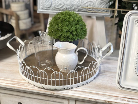 White Vintage Fence Tray