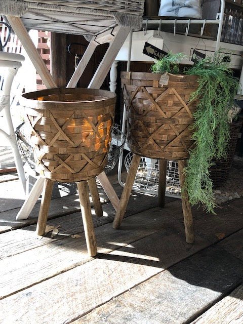 Woven Cane Planter Stand Set (2)