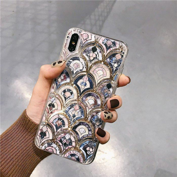 2019 Luxury Fashion Fish-scale Quicksand Phone Case For iPhone/Samsung