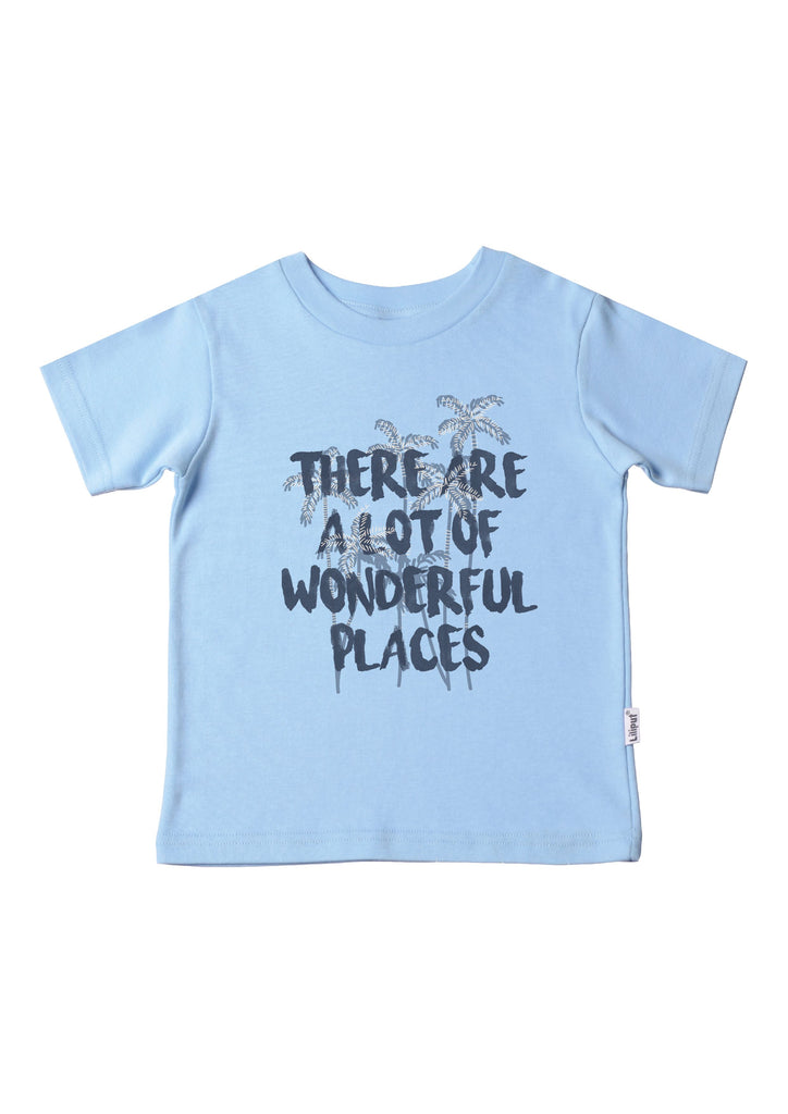 Kinder T-Shirt hellblau Wonderful Places aus Bio-Baumwolle