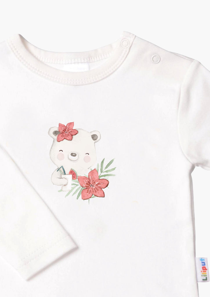 Langarmshirt ecru tropical bear
