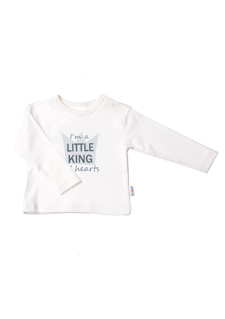 Langarmshirt ecru little king of hearts