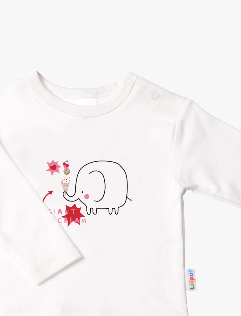 Langarmshirt ecru Elefant Ice Cream