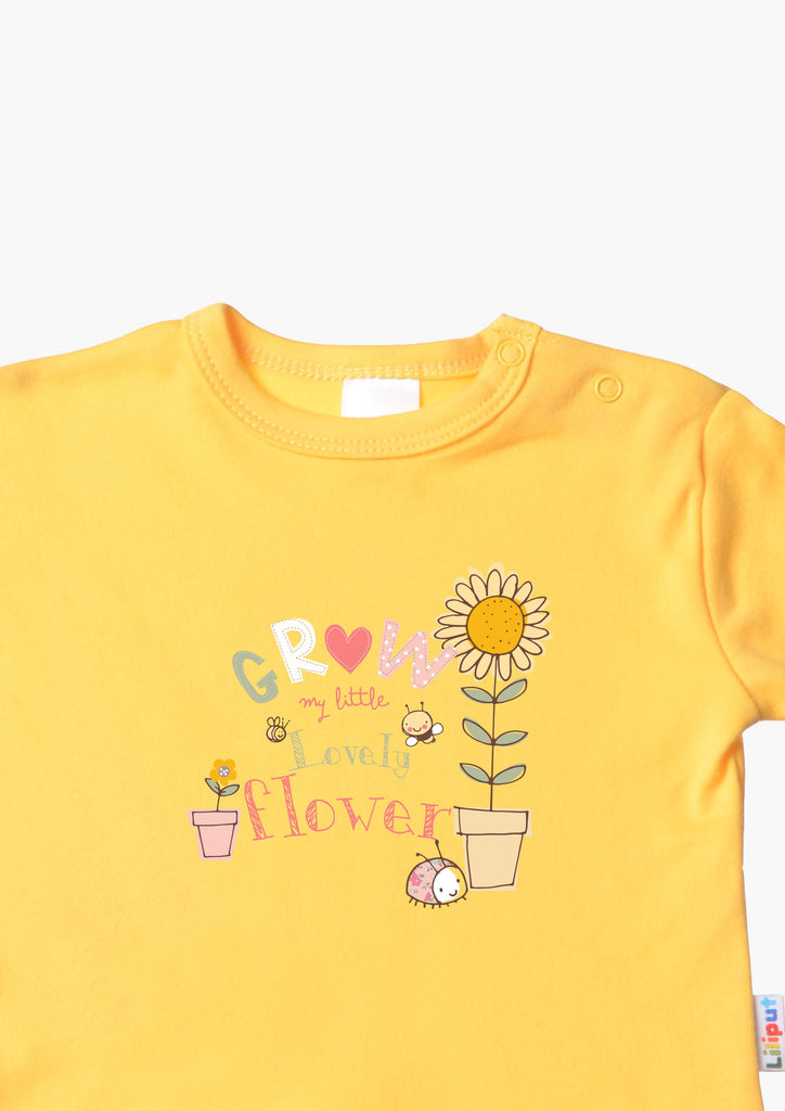 Langarmshirt gelb Grow little flower