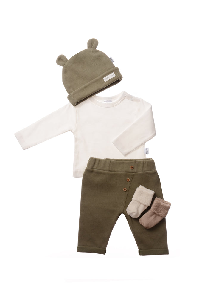 Rib-Strick Set mit Hose in olive 5-teilig