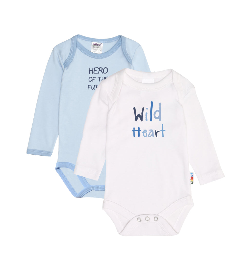 Doppelpack Langarmbodies in weiß und blau mit Print Hero of the future und wild heart