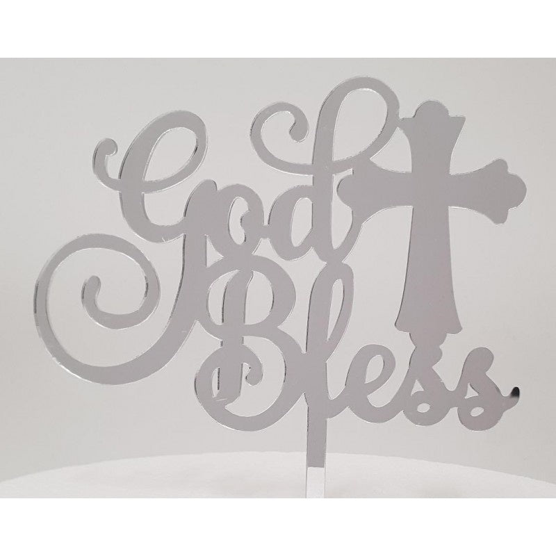 GOD BLESS - SILVER ACRYLIC TOPPER