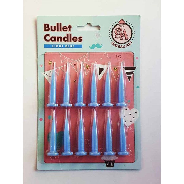 LIGHT BLUE BULLET CANDLE 12 PACK